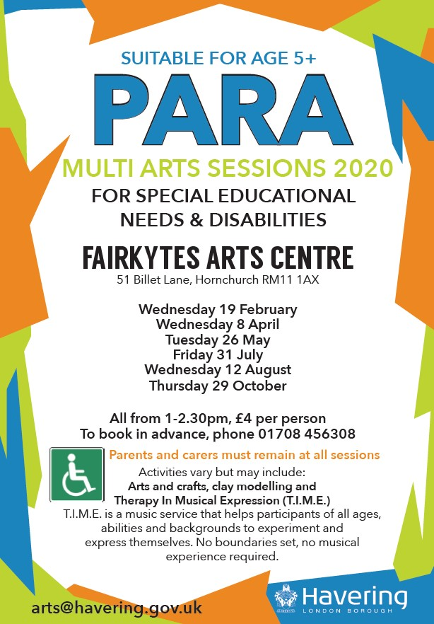 2020 School Holiday Para Art Sessions Havering