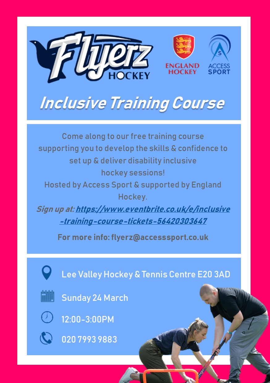 Flyerz and Lee Valley Inclusive Training Flyer