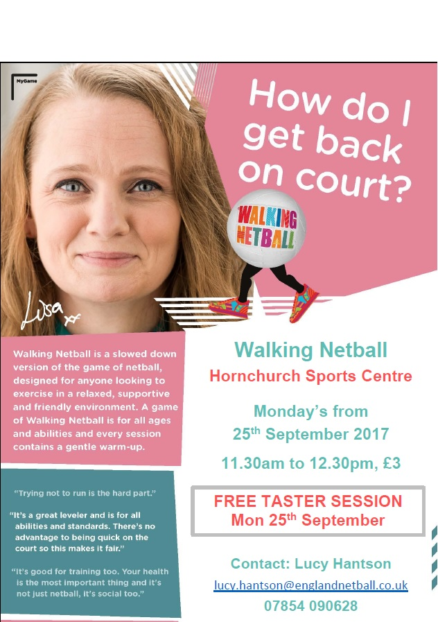 Walking Netball Hornchurch SC EN Poster